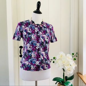 LOFT Purple Floral Cotton Short Sleeve Cardigan